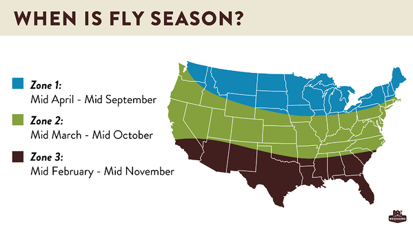 When is fly season in the united states map