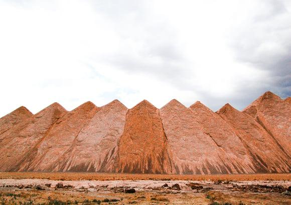 Stockpiles of Ice Slicer granulated deicer